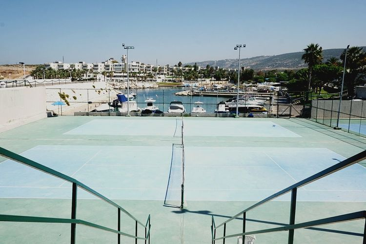 Dramatic Angles Tennis 🎾 Tennis Court Waterfront Travel Destinations Outdoors