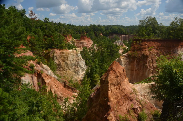 Providence Canyon State Park, Georgia, United States Beauty In Nature Cloud - Sky Day Mountain Nature No People Non-urban Scene Outdoors Plant River Rock Rock Formation Scenics - Nature Sky Tranquil Scene Tranquility Travel Travel Destinations Tree Water