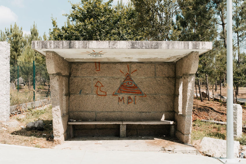 LOST IN GALICIA 🚌 Lostingalicia Threeweeksgalicia Bus Stop Architecture Built Structure No People Day Nature Outdoors Plant Tree Text Communication Western Script Sign Land Sunlight Capital Letter Non-western Script Abandoned Old Script Road