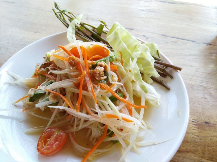 Papaya salad Food And Drink Healthy Eating Food Indoors  Plate Freshness Ready-to-eat