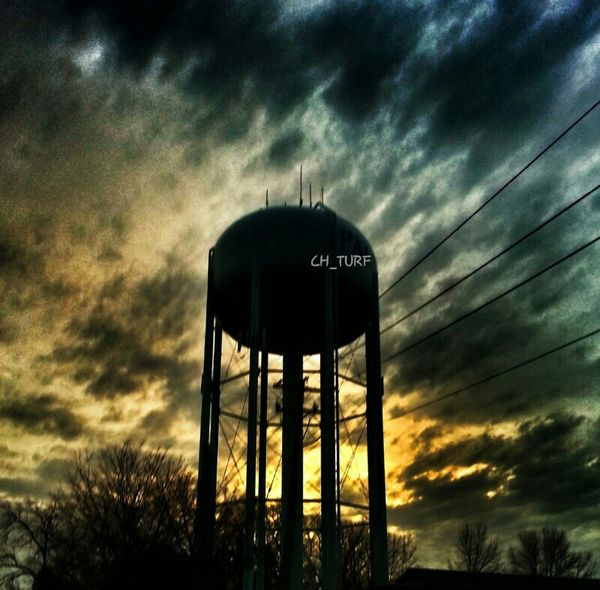 Clouds Sunset Sky Silhouette Clouds And Sky Cloudporn Skyporn #sunset #sun #clouds #skylovers #sky #nature #beautifulinnature #naturalbeauty #photography #landscape Watertower Suburbs Nature Meets Man