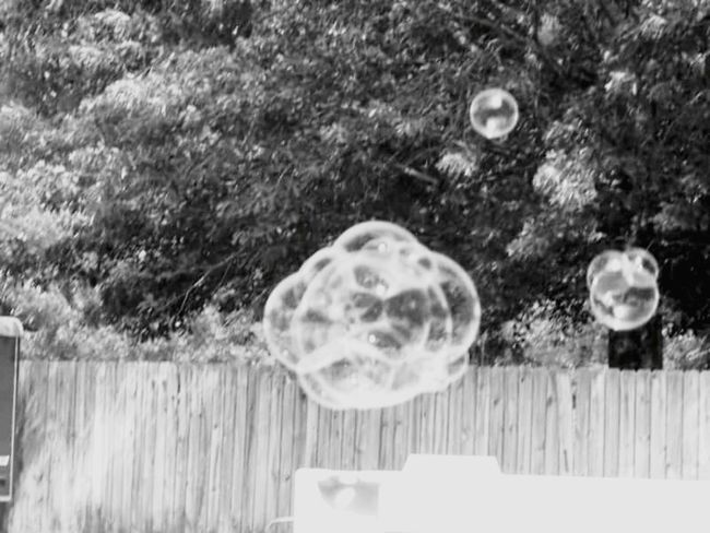 Black And White Photography Blowing Bubbles Summer Fun <3 Kiddies