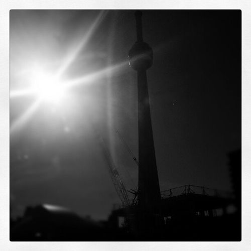 Quick shot of the Cntower RogersCenter Toronto Canada Crazy QuickShot Skyline My City Cool BlackandWhite