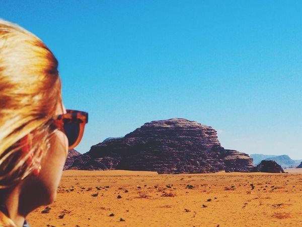 Postcard with a view... Wadi Rum Beautiful Colorful Desert Golden Hair Horizon Jordan Postcard Sunglasses Travel Vision Wadirum Wanderlust Woman The Great Outdoors - 2016 EyeEm Awards EyeEm Awards 2016