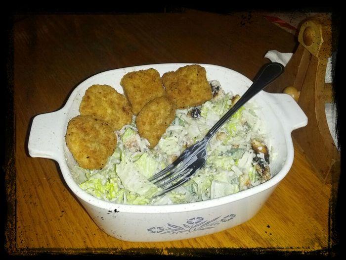 chicken nuggets n Caesar salad .... yum