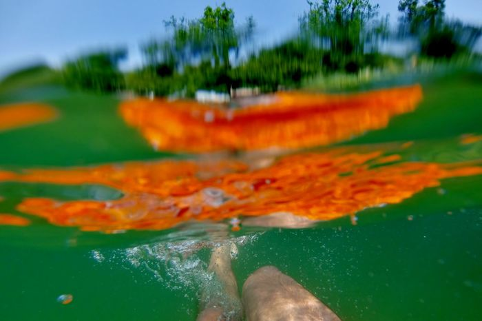 Beauty In Nature Day Focus On Foreground Gopro Green Color Lake Orange Color Outdoors Unter Wasser Waldsee Water