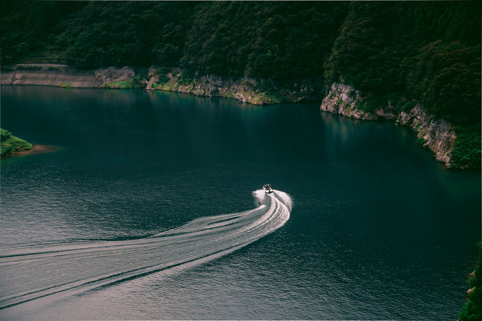 // lets go // Japan Ultimate Japan Wave Adventure Beauty In Nature Day High Angle View Landscape Mode Of Transport Nature Nautical Vessel No People Outdoors Scenics Sea Ship Tranquil Scene Tranquility Transportation View From Above Wake - Water Water