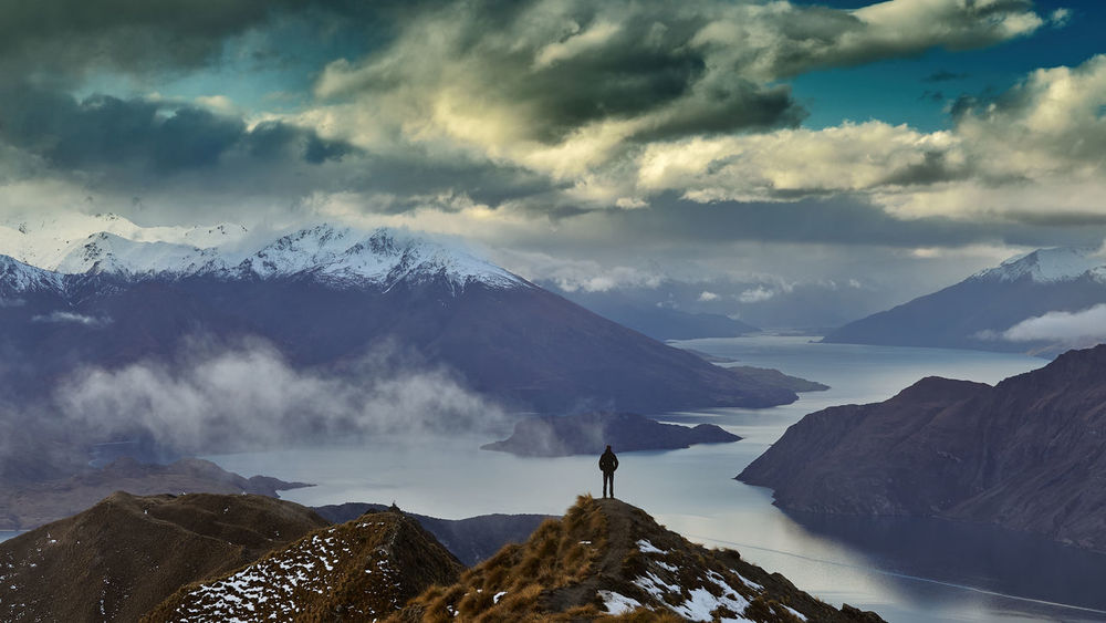 A little selfie above Lake Wanaka, South Island of New Zealand Man Wanaka Beauty In Nature Cloud - Sky Cold Temperature Instagram Lake Wanaka Landscape Mountain Mountain Peak Mountain Range Nature New Zealand Non-urban Scene Outdoors person Remote Roys Peak Scenics - Nature Sky Snow Snowcapped Mountain Tranquil Scene Tranquility Winter