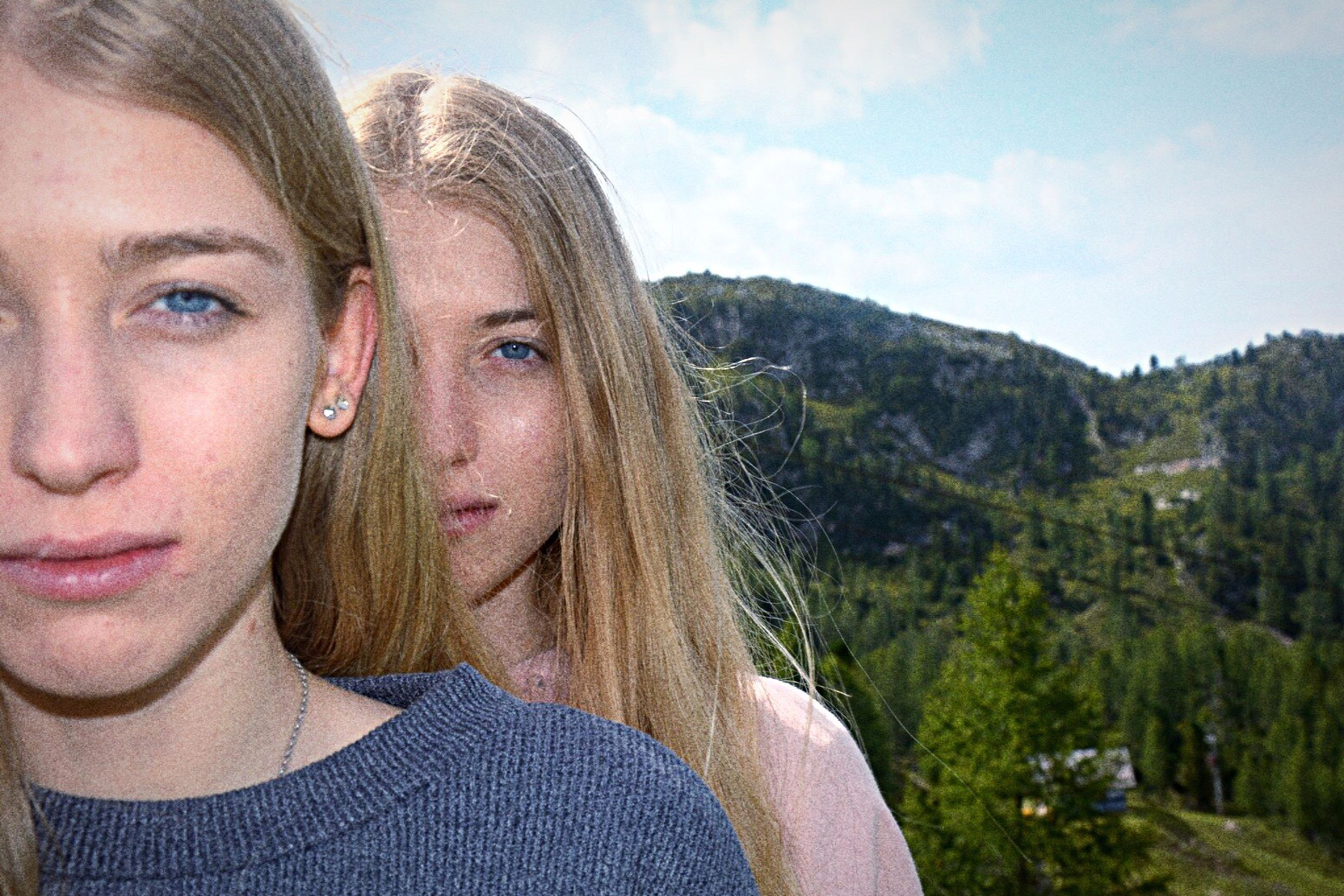 two people, togetherness, headshot, looking at camera, portrait, day, front view, women, young women, real people, outdoors, young adult, sky, blond hair, lifestyles, men, mountain, adult, nature, friendship, close-up, people, adults only