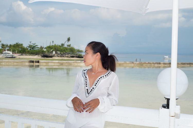 tropical girl Filipina Philippines Sexygirl Black Hair Long Hair Philippinen White Dress Girl Tunika Filipina Model Water Sea Portrait Luxury Women Millionnaire Summer Luxury Hotel Arts Culture And Entertainment Wineglass Harbor Boat