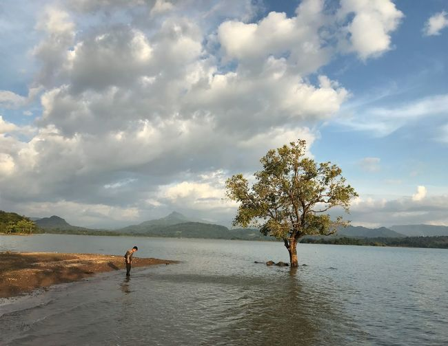 peacefull place Cloud - Sky Water Sky Real People Beauty In Nature Sea Land Beach Day Nature Tranquility Scenics - Nature Tranquil Scene Leisure Activity Tree Outdoors