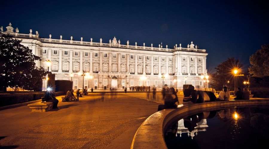 Plaza de Oriente Plaza De Oriente Madrid Spain Night Illuminated Architecture Built Structure Building Exterior Travel Destinations Travel History Real People Large Group Of People Town Square Outdoors Statue Leisure Activity Lifestyles City Clear Sky Vacations Men Nightlife