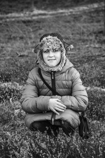 Child Childhood Children Only Front View Grass Happiness Looking At Camera Old-fashioned One Person People Portrait Preschool Age Smiling Warm Clothing