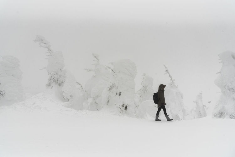 Full Length Of Woman Walking On Snow Covered Landscape