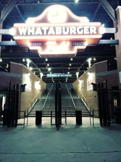 Whataburger Field Entrance Stairs City Text Communication Architecture Built Structure Open Door