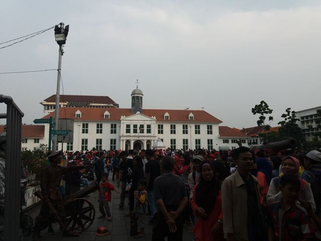 Cloudy Day, Kota Tua Jakarta. Large Group Of People Police Force Architecture Crowd Day People Sky City Outdoors Cityscape INDONESIA Family Time Travelling Hanging Out Holiday♡ Holiday Memories Connected By Travel EyeEmNewHere Architecture People Watching Sitting Celebration Holiday And Relaxing Family❤ Kotatuajakarta
