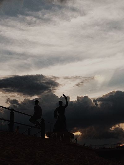 Cloud - Sky Sky Outdoors Silhouette Statue Nature Sculpture Sunset Men Two People Real People Beauty In Nature Day People Warsaw Poland The Week On EyeEm