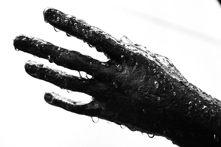 Water covered statue hand Silhouette Human Body Part Human Hand Close-up Outdoors Metal Statue Statue Hand Metal Hand Rain Raindrops Water EyeEmNewHere