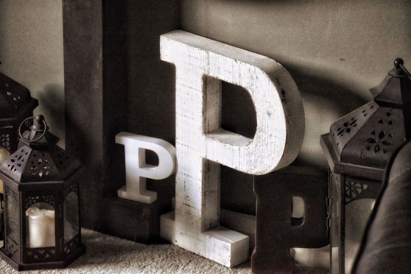The Letter P Communication Text Indoors  No People Close-up