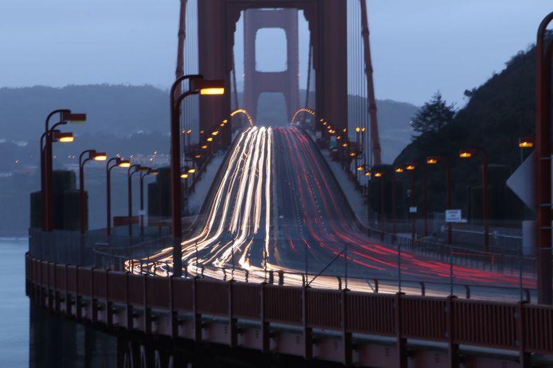 Golden Gate bridge long exposure San Francisco Golden Gate Bridge Illuminated Transportation Architecture Connection Road Built Structure Bridge - Man Made Structure Long Exposure Outdoors No People City