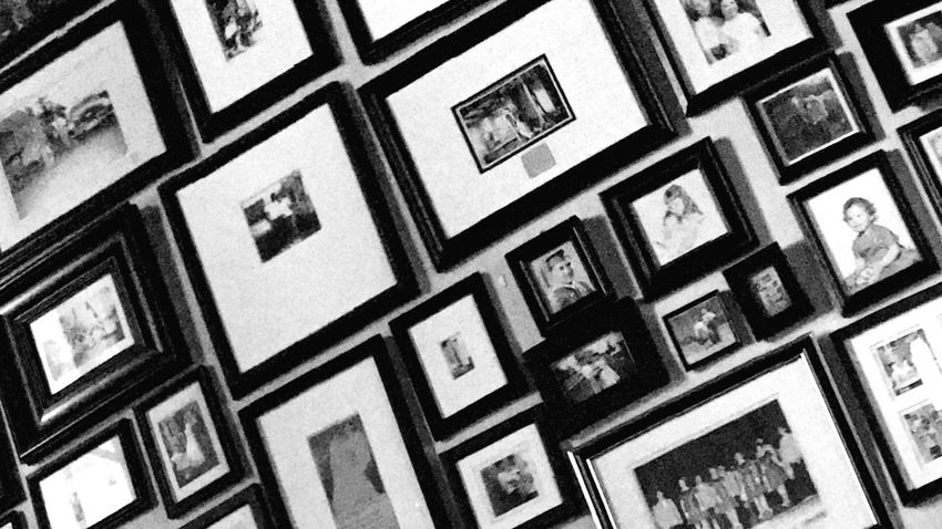 Framed Photos Frames Wall Of Pictures Pattern Backgrounds Full Frame Slanted No People Indoors  Interior Black And White Day Rectangles Squares Photos Photography Family Memories Shapes Arranged
