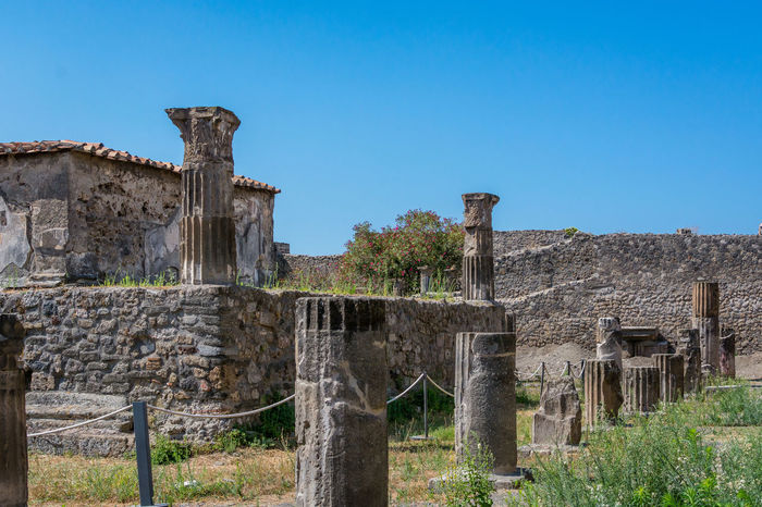 Abandoned Ancient Ancient Architecture Ancient Civilization Ancient Ruins Architecture Blue Clear Sky Damaged Day Destroyed Deterioration Italy Old Old Ruin Outdoors Pompeii  Ruined Stone Material Weathered