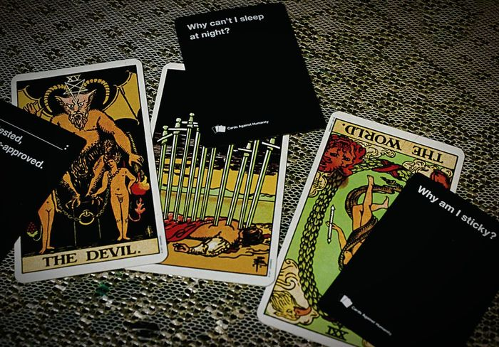 """Life's unanswered questions"" (2014) Silly Tarot Tarot Cards Tarot Reading Tarotspread Cards Against Humanity Cards Questions Of Life Questions? Just For Fun Shits And Gigs No People Indoors"