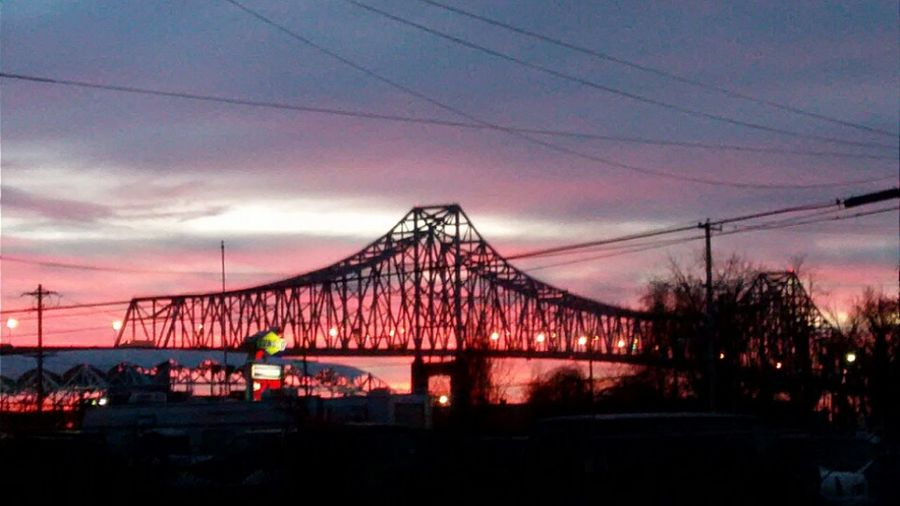 G'mornin, The Breaking Of Day Over The Commador Barry Bridge Bridge - Man Made Structure Connection Suspension Bridge Built Structure Travel Destinations Architecture Sky Sunset Outdoors Night Transportation Cable No People Urban Skyline Tree Cityscape City Nature