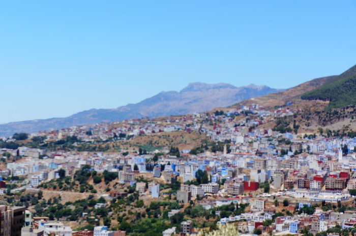 Beautiful City Morocco North Africa Road Sightseeing Travel View Vivid Africa Architecture Blue Building Built Structure Chaouen Chefchaouen Color Fancy Historical Mountain Outdoors Town Traditional Vacation World
