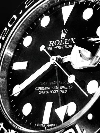 Rolex GMT Master II shot on IPhone 📱 Blackandwhite IPhoneography IPhone Photography Closeup Luxury Presicion Swissmade Jewelry Watch Text Time Communication Indoors  No People Close-up Clock