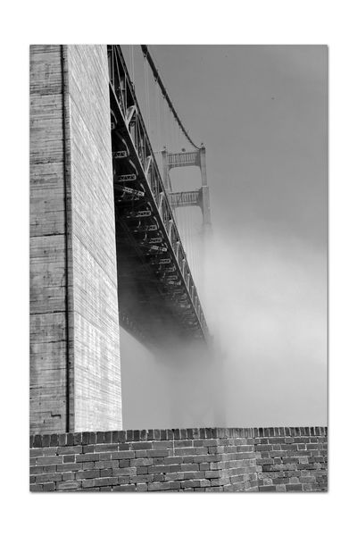 Golden Gate Bridge @ Fort Point 19 Fog Golden Gate Bridge Built 1937 Fort Point 1861 Civil War U.S.Army Military Base Bnw_friday_eyeemchallenge Bridges Bnw_bridges Allover The World San Francisco CA🇺🇸 San Francisco Bay Monochrome Photograhy Monochrome Diminishing Perspective Vanishing Point Black & White Black And White Photography Black And White Collection  Black And White Low Angel View Parapet Wall Heavy Fog