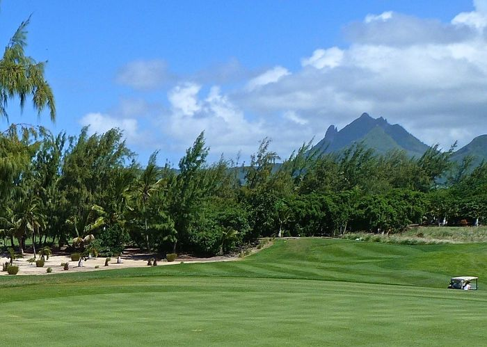 Amazing Beauty In Nature Blue Cloud - Sky Fairway Getting Inspired Golfcourse Golfing Green Green Color Holiday Landscape Landscape_Collection Leisure Activity Mauritius Mountain Range Nature Oceanside Scenics Taking Photos Tranquil Scene Travel Tree Wineandmore Île Aux Cerfs