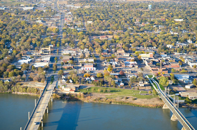 High Angle View Cityscape City Town Yankton South Dakota Aerial View Aerial Aerial Photography Missouri River River Riverfront Waterfront Bridges Bridge Road Street Residential District Landscape Transportation Environment Infrastructure Business Finance And Industry Business District MidWest