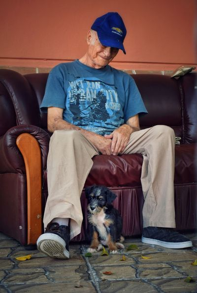 Friends Pet Portrait Portrait Photography Low Angle View Cute Tiny Puppy Dogs Old EyeEm Best Shots EyeEmNewHere EyeEm Nature Lover Photography Nikon Photooftheday Pets Sitting Dog Portrait Vet  Living Room Home Interior Men One Senior Man Only Pet Owner Canine Visual Creativity