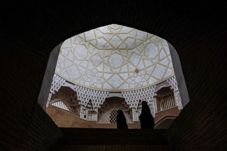 Travel Destinations Travel Photography Iran Shia Community Nomadic Zoroastrian Islamic Architecture Built Structure Indoors  Architecture Low Angle View Religion Belief Spirituality Place Of Worship Building Dome Ceiling Arch Window Art And Craft Pattern Cupola Architecture And Art Ornate