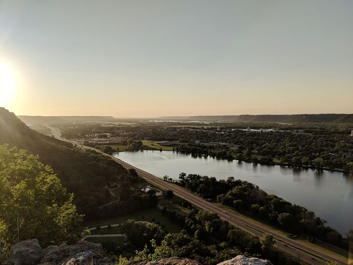 From Above Winona, MN. Lake Lakeview Sunset Road Roadway Summer Trees Greenery Water Sunset Sky Landscape Lakeside Calm