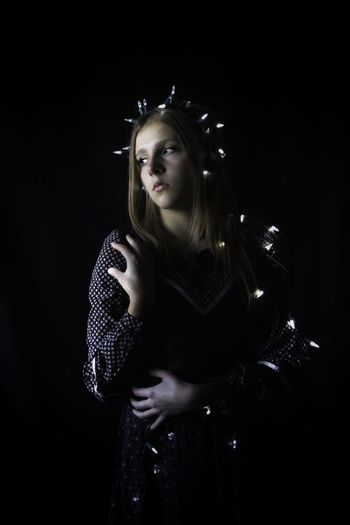 Black Background One Person Studio Shot Young Adult Beautiful Woman Long Hair Arts Culture And Entertainment Shadow Rsa_ladies Rsa_dark Pr0ject_soul