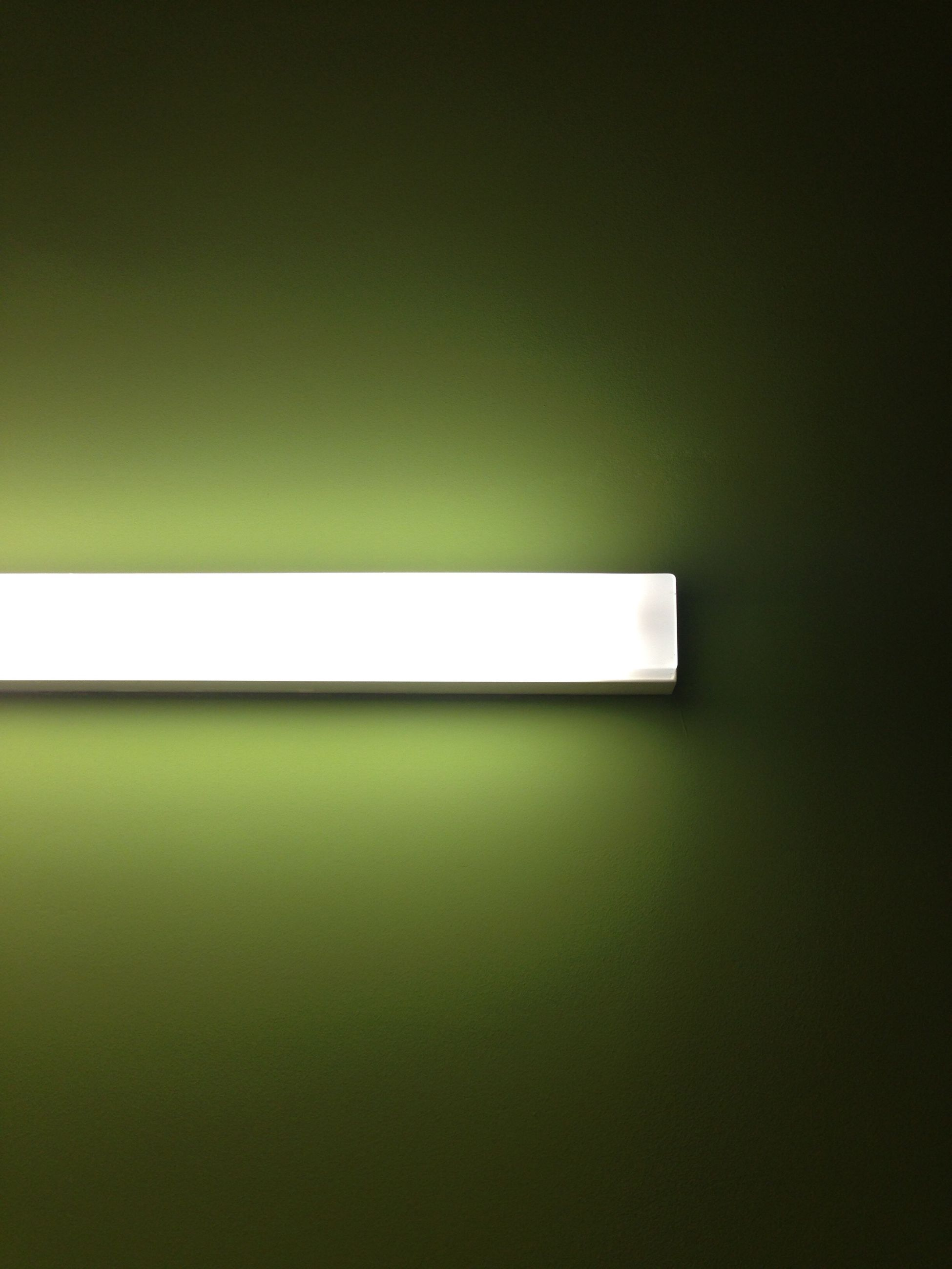indoors, illuminated, close-up, geometric shape, fluorescent light, order, electric light, green color, full frame, modern, large group of objects, no people