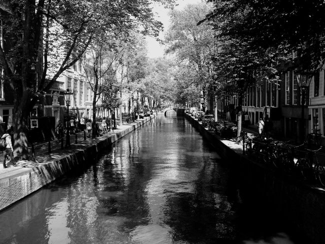 Shades Of Grey Of Grey Canals Amsterdam Holland