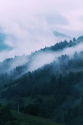 Scenic view of foggy mountain landscape against cloudy sky