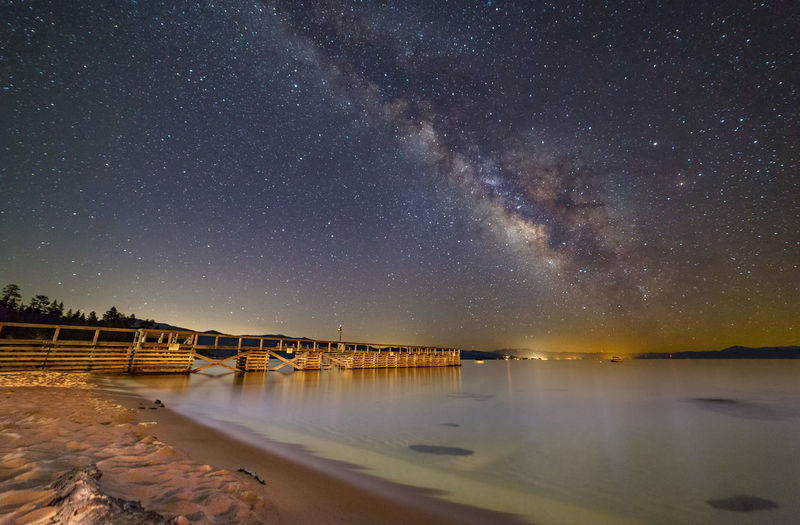 Scenic View Of Sea Against Star Field
