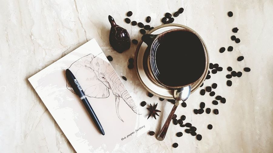 For the love of coffee and Elephants Coffee Beans Kenyan Coffee Espresso Elephants Elephant Lover Elephant ♥ Morning Coffee Mornings High Angle View Table Espresso Maker Close-up Freshness No People Indoors
