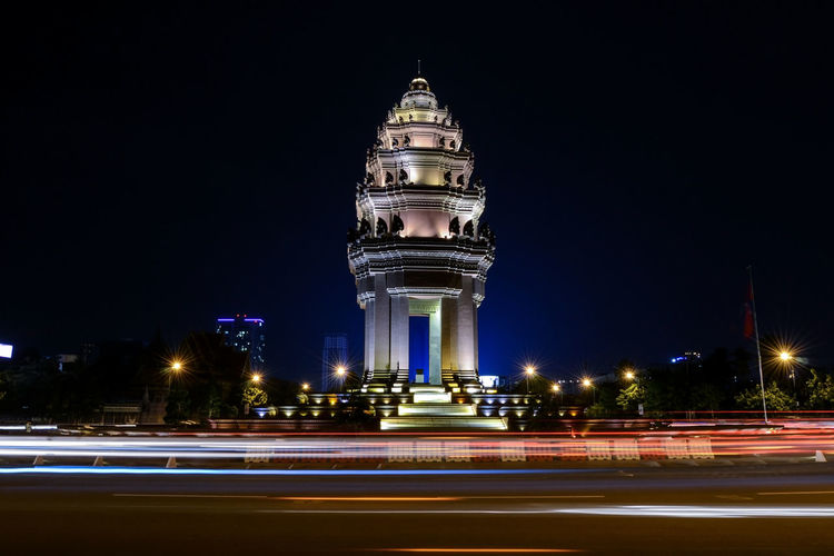 Lovely Cambodia. Architecture ASIA Building Exterior Built Structure Cambodia Capital Cities  Exposure Famous Place Historic History Independence Monument International Landmark Khmer Long Exposure Low Angle View Monument Night Lights Night Photography Cities At Night Photography In Motion Learn & Shoot: After Dark Tourism Tourist Travel Travel Destinations Neighborhood Map