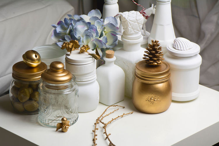Close-up of containers on table