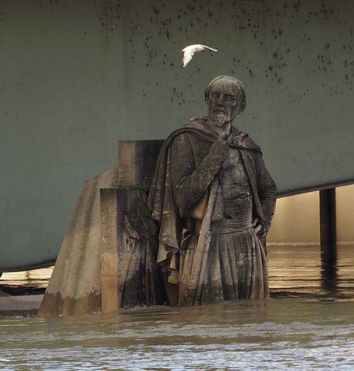 Zouave De Paris Paris Crue 2018 Flood Seine Water Human Representation Sea Statue No People Sculpture Day