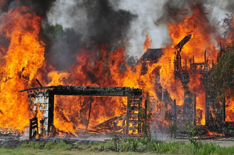 Buildings set on fire