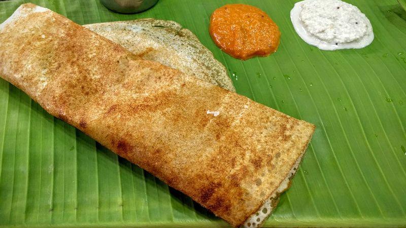 Banana Leaf Chutney Dosa Food Food And Drink High Angle View India Leaf Masaladosa South Indian Food