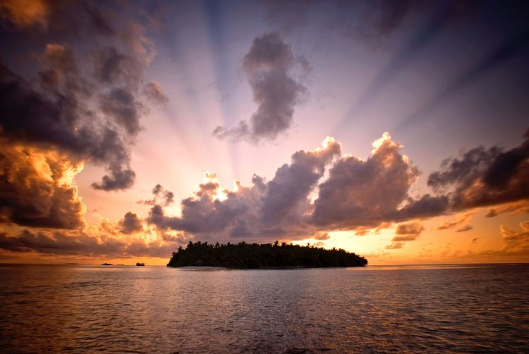 Maldives sunset island Super Sunsets Maldives Sky Cloud - Sky Water Sea Scenics - Nature Beauty In Nature Tranquility Sunset Panoramic No People Nature Tree Land Idyllic Tropical Climate Island Coconut Palm Tree Tranquil Scene Plant Orange Color