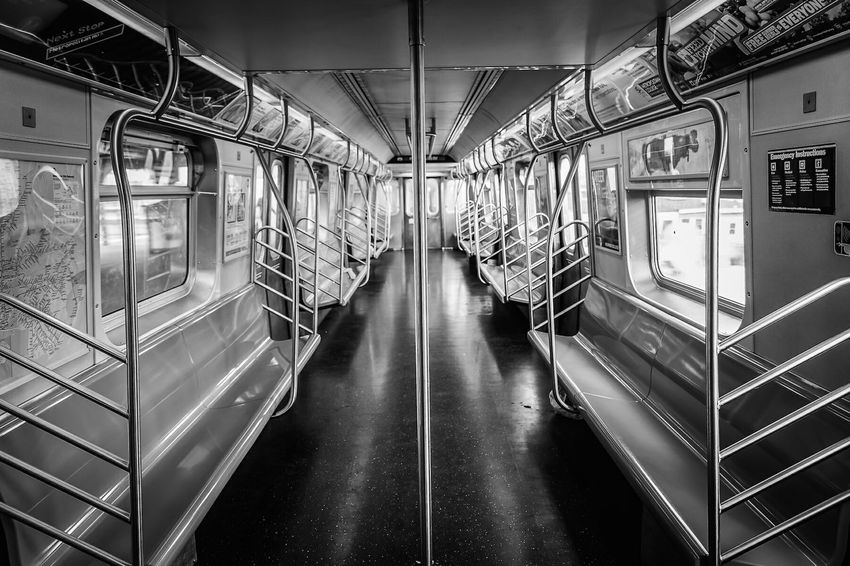 Shades Of Grey to think you can be on a New York City train in mid day with not one person in this cart. New York City David Gutierrez Amazing Pixelperfectnyc Black And White Empty Train I Heart New York EyeEm Best Shots