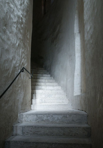 Staircase Architecture Steps And Staircases Built Structure No People The Way Forward Wall - Building Feature Indoors  Building Direction Day Moving Up Old Low Angle View Wall Railing Empty Absence Greece Old Buildings Way Up Climbing Stairs Stairs White Tower